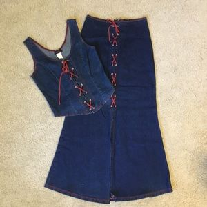 🍒HOST POCK🍒jean corset style skirt and top set